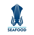 Fresh and delicious seafood icon with blue squid vector image