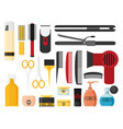 hairdresser beauty tools icon flat design style vector image