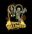 halloween design mummy out from sarcophagus vector image vector image