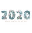 happy new year tropical pattern 2020 figures hand vector image