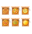 hot pizza in craft paper box vector image vector image