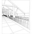 industrial building wireframe for abstract vector image vector image