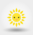 kawaii sun icon flat vector image vector image
