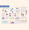 kinds sport and workouts types infographic set vector image
