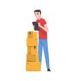 man checking cardboard boxes preparing goods vector image