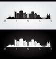 minsk skyline and landmarks silhouette vector image vector image