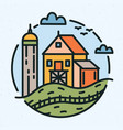 modern circular logo with rural landscape and farm vector image