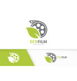 movie and leaf logo combination cinema and vector image vector image