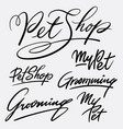 my pet and grooming hand written typography vector image vector image