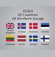 Northern europe countries flags collection
