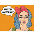 Pop Art of girl with the speech bubble vector image
