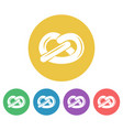 pretzel set of round flat style icons vector image vector image