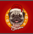 santa claus cute dog cartoon wearing hat vector image