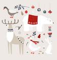 set cute christmas animals birds vector image vector image