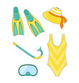 set snorkeling elements vector image vector image