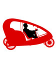 silhouette of a tricycle male on white background vector image vector image