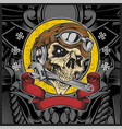 skull with motorcycle helmet biting wrench vector image vector image