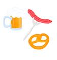 soft pretzel mug beer sausage on a fork vector image vector image