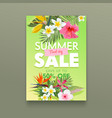 summer sale banner with tropical flowers plumeria vector image vector image