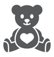 teddy bear glyph icon child and toy vector image vector image