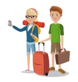 travel young couple tourist vacation suitcase vector image vector image