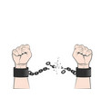 two hands clenched into fist tearing chains or vector image vector image