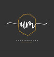 u m um initial letter handwriting and signature vector image vector image