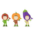 vegetable head child character tomato pumpkin vector image vector image