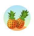 whole pineapple fruit realistic pineapple fruit vector image