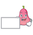with board rose apple character cartoon vector image vector image