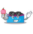 with ice cream pencil case character cartoon vector image
