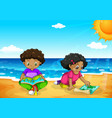 young african kids at the beach vector image