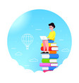 young man sitting on stack of books with laptop vector image