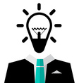 Man in Suit with Bulb Icon - Isolated on White vector image