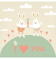 Romantic card with cute rabbits in love Happy vector image