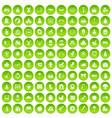100 nursery school icons set green circle vector image vector image