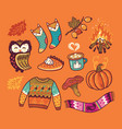 autumn collection elements hand-drawn stickers vector image