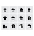 black gift icon set on white vector image vector image