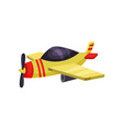bright yellow plane with propeller cartoon air vector image vector image