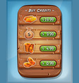 buying credits interface for ui game vector image vector image