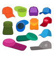 Cap template colored set vector image vector image