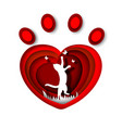 cat white silhouette in red heart shape pet animal vector image vector image