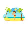 child hearing seashell on beach sea view vector image vector image