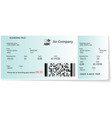 colored and realistic boarding pass ticket vector image vector image