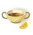 cup of lemon tea with polka-dot pattern and two vector image vector image