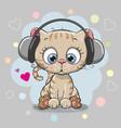 cute cartoon kitten with headphones vector image vector image