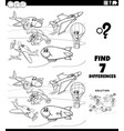 differences educational game with planes coloring vector image vector image