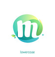 ecology lowercase letter m logo overlapping vector image vector image