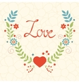 Elegant love card with floral wreath vector image