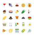 food and gifts flat icons pack vector image